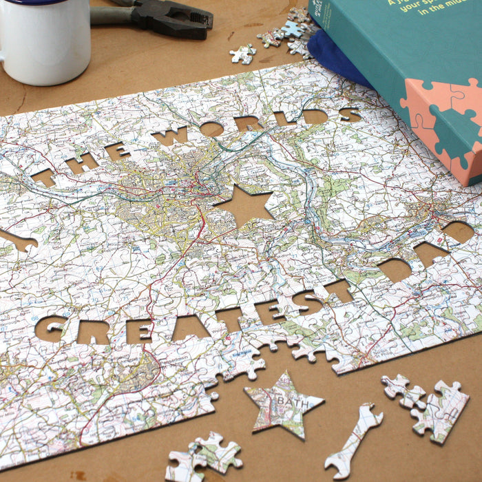 World's Greatest Dad Personalised Map Jigsaw - All Jigsaw Puzzles UK  - 1