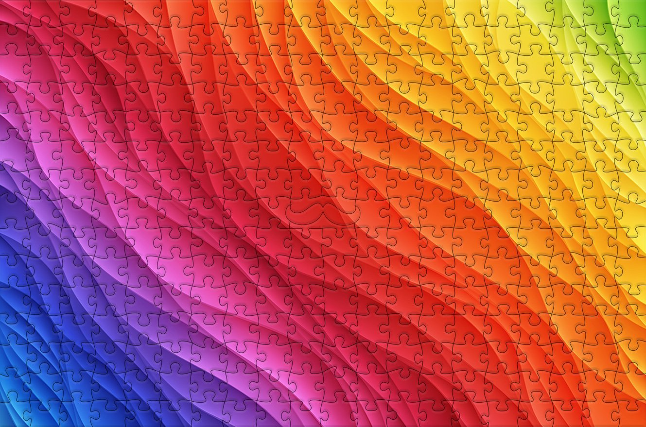 Wavy Rainbow - Impuzzible - 300 Piece Wooden Jigsaw Puzzle
