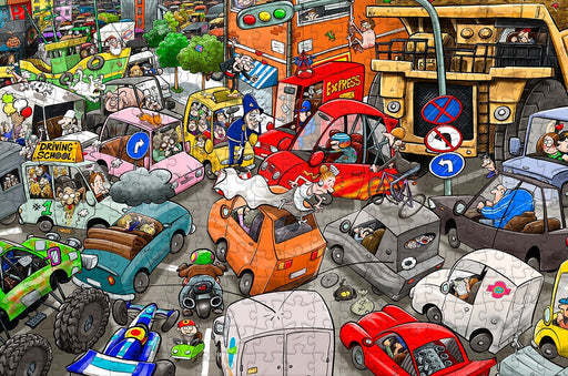Chaos on the Road 300 - No.13 Piece Wooden Jigsaw Puzzle