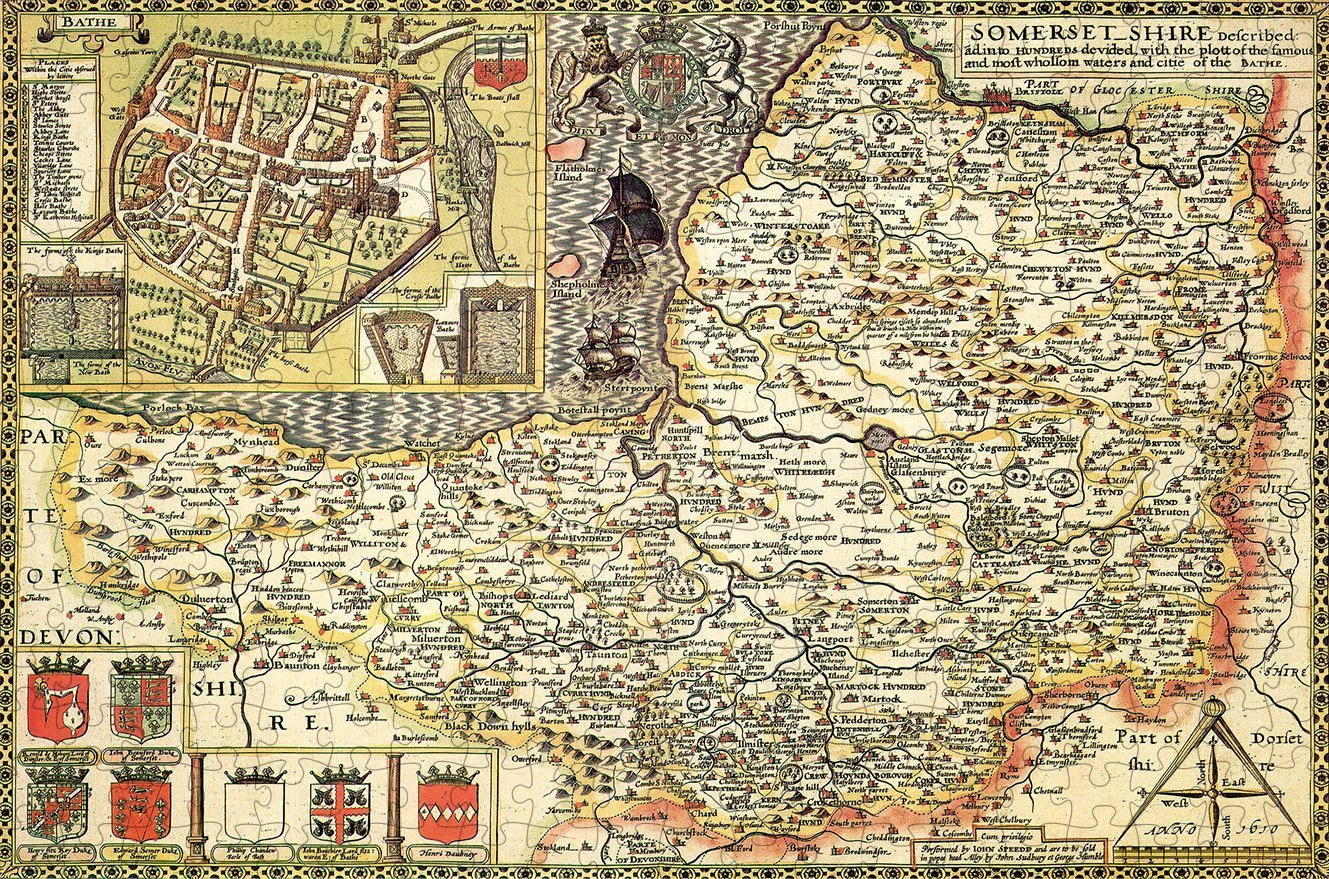 Somerset 1610 Historical Map 300 Piece Wooden Jigsaw Puzzle