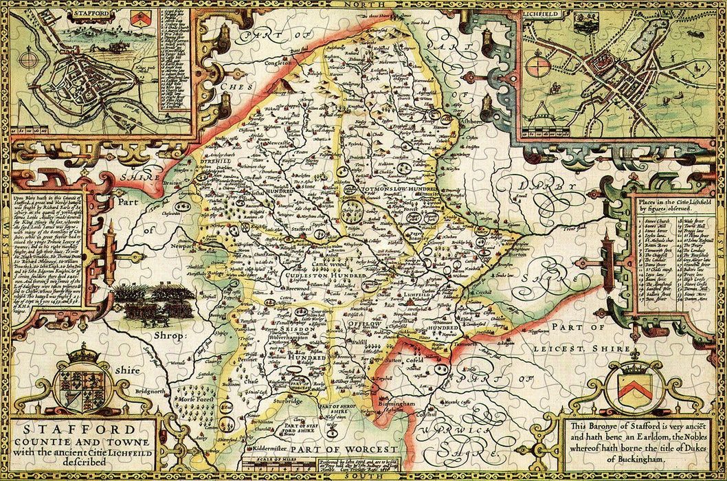 Staffordshire 1610 Historical Map 300 Piece Wooden Jigsaw Puzzle