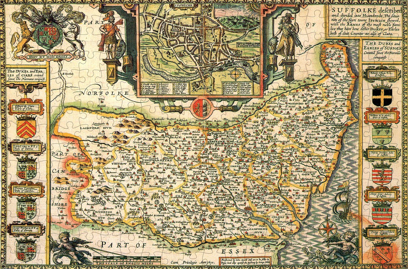 Suffolk 1610 Historical Map 300 Piece Wooden Jigsaw Puzzle