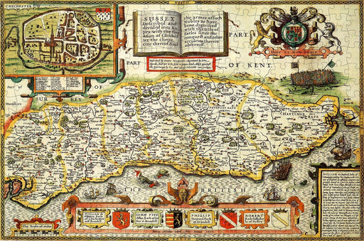 Sussex 1610 Historical Map 300 Piece Wooden Jigsaw Puzzle