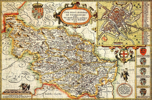 Yorkshire West Riding 1610 Historical Map 300 Piece Wooden Jigsaw Puzzle