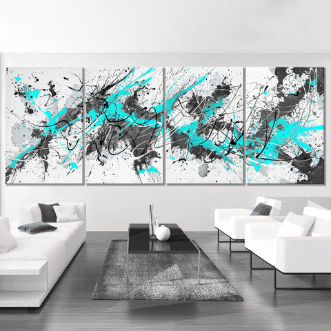Aqua & Gray - Modern Splash