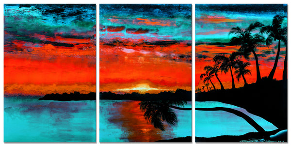 Tropical Sunset 2 - Vermilion & Aqua