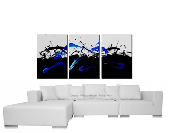 "Abstract Painting: ""In Control"" Black, White & Blue"