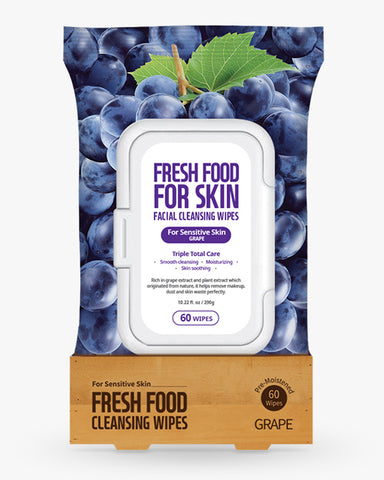 Freshfood Micellar Cleansing Wipes 60pcs - Grape