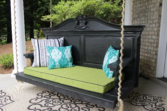 Bed porch swing made from old Headboard