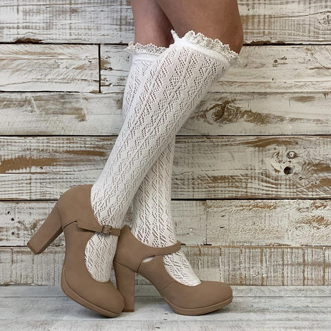 lace boot socks - lace socks for boots
