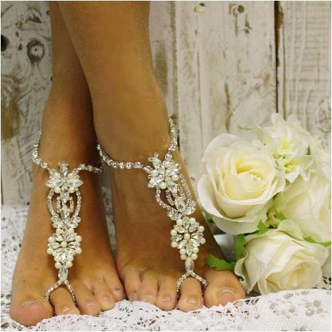 pearl barefoot sandals - pearl wedding foot jewelry - pearl footless sandles