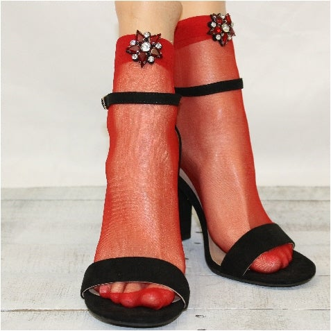 lace socks for heels - trendy tulle socks