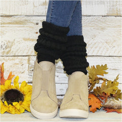 slouch socks thick cotton black wedge sneakers outfit