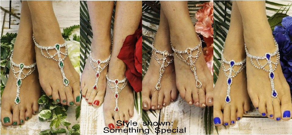 Barefoot Sandals with color wedding foot jewelry red blue