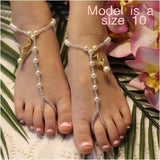 anchor flower girl barefoot sandals pearls