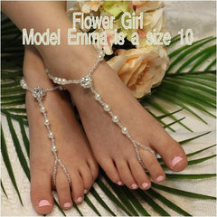 flower girl rhinestone barefoot sandals - pearl flower girl barefoot sandals