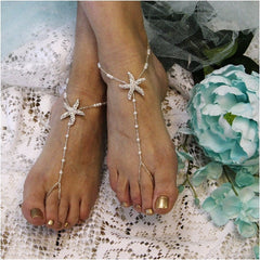 starfish beaded barefoot sandals