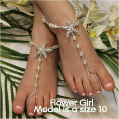 starfish flower girl barefoot sandals - girls starfish foot jewelry