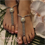 rhinestone pearl flower girl footless sandals