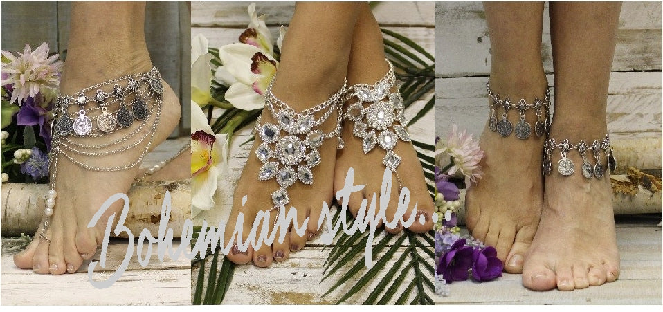 BOHEMIAN BAREFOOT SANDALS boho wedding foot jewelry Bohemian