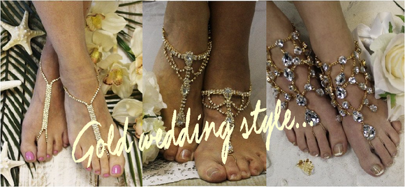gold barefoot sandals wedding - gold rhinestone foot jewelry