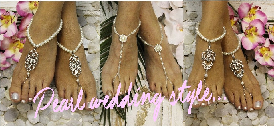 pearl barefoot sandals - pearl wedding foot jewelry - pearl footless sandals