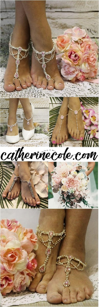 pink barefoot sandals wedding - pink footless sandals bridal - pink foot jewelry beach