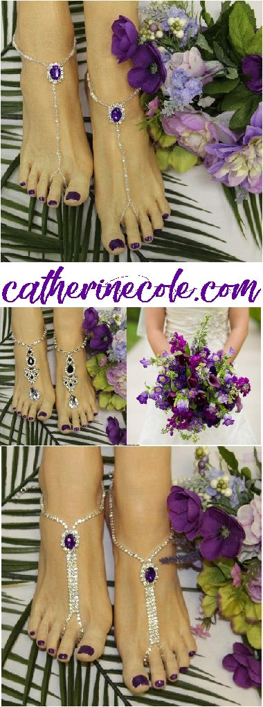 purple foot jewelry - purple barefoot sandals wedding