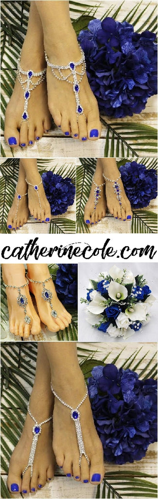 sapphire blue barefoot sandals wedding - royal foot jewelry