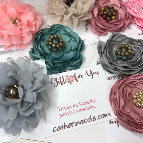 silk flower pins from vintage jewelry