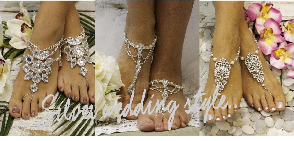 silver barefoot sandals - silver footless sandals - silver wedding foot jewelry