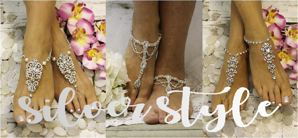 BAREFOOT SANDALS SILVER silver foot jewelry wedding silver