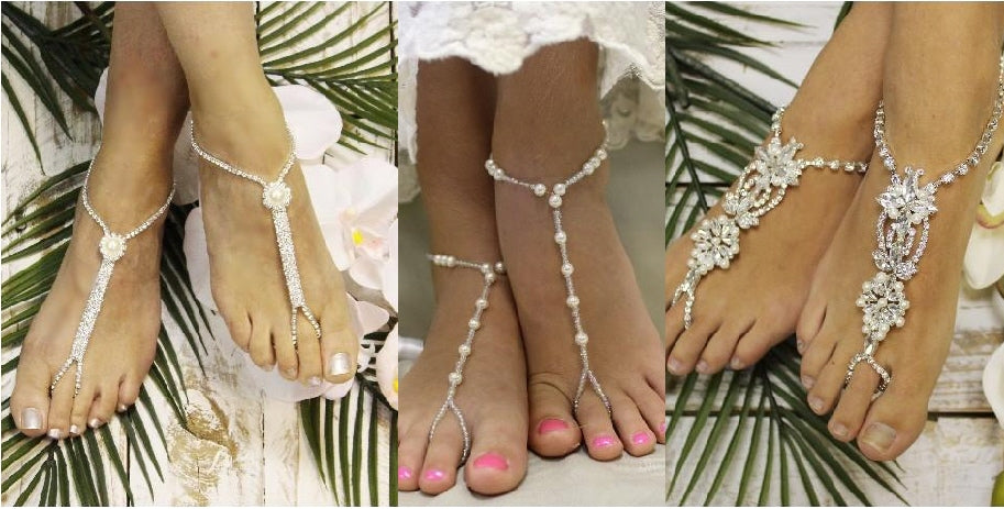 pearl wedding barefoot sandals