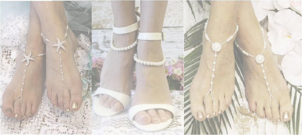 Pearl barefoot sandals wedding - Bridal pearl footless sandals jewelry