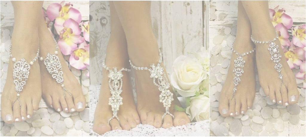 silver wedding barefoot sandals - silver bridal foot jewelry