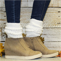 white extra thick slouch socks wedge sneakers suede trendy outfit