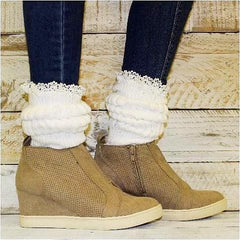 slouch socks white heavy thick wedge sneakers