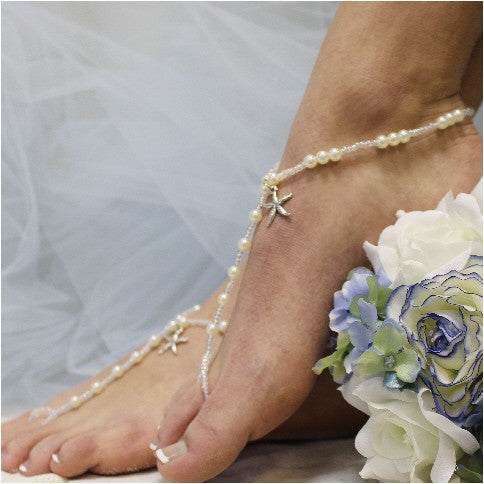 KEY WEST starfish barefoot sandals - silver - Catherine Cole Studio