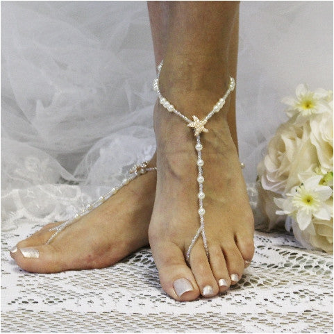 Starfish Rose Gold Barefoot Sandals Wedding Pearl