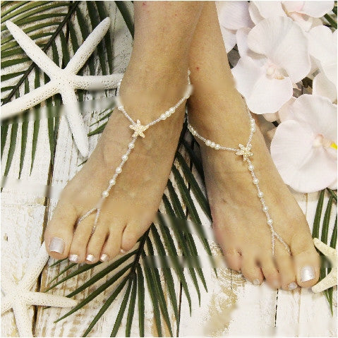 STARFISH rose gold barefoot sandals wedding - pearl - Catherine Cole Studio