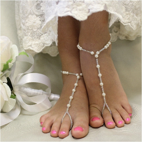 SEA OF LOVE barefoot sandals - handmade pearl beaded foot jewelry etsy best