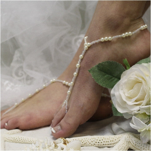 SEA OF LOVE barefoot sandals - Bridal foot jewelry pearls Angel etsy custom