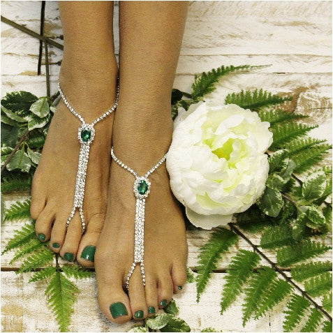 rhinestone women  barefoot sandals - emerald green  Irish etsy