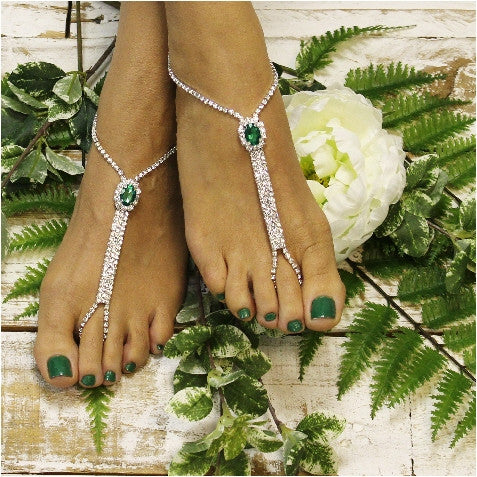 BRIDESMAID rhinestone wedding  barefoot sandals - emerald green  kelly Irish bridal foot jewelry custom crystal etsy