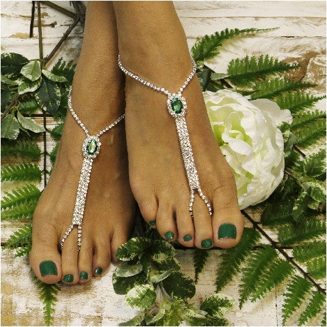 green feet jewelry- emerald green sandals- irish  barefoot sandals - wedding - beach - rhinestones - crystals