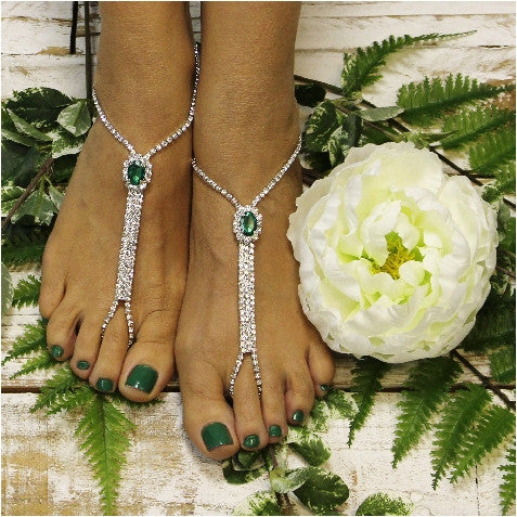 green wedding barefoot sandals - green wedding sandals - irish wedding sandals - kelly green