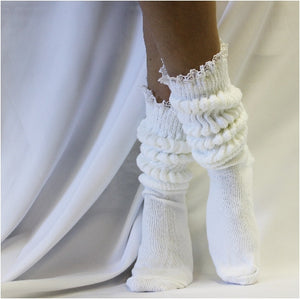 SCRUNCHY  lace slouch socks - white - thick Hooters scrunch socks 90s etsy