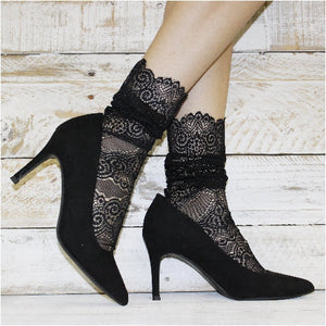 Allover lace anklet for heels - black - Catherine Cole Studio