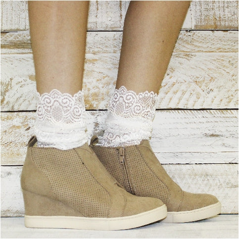 lace socks for heels - allover white lace sock women