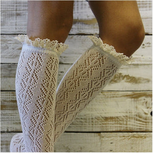 CROCHET tall lace boot socks - ivory - woemns tall knee socks etsy